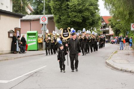 Hausham, Germany - July 17, 2016: Knappenkapelle Kropf mill during parade in Hausham  Germany Editorial