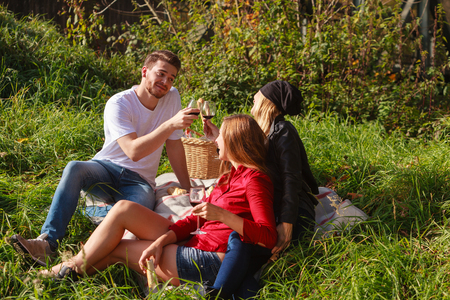 Three friends are sitting in the grass on a blanket at a picnic and drinking wine