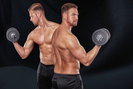 Upper body of a man from the front and back with a dumbbell on shoulder height
