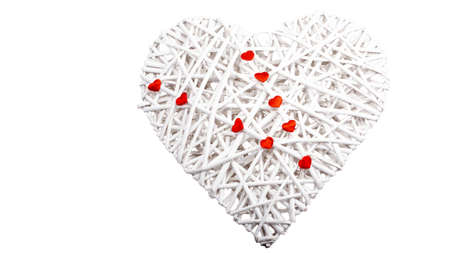 A large heart braided with small red hearts, isolated on white
