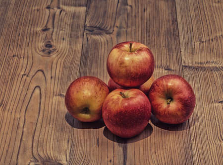 Still Life Red Apples on Wooden Structure