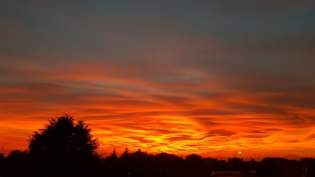 Wonderful sunset in town Standard-Bild