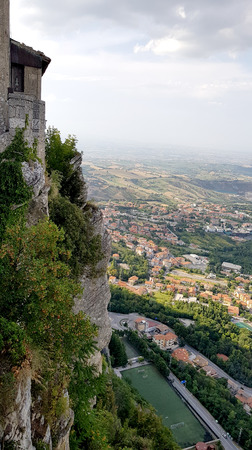 Amazing landscape with ancient castle in marche region, italy