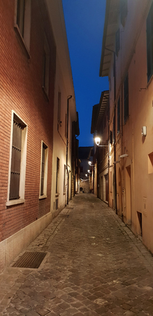 a typical folkloristic street in a historical center of Fano, in Italy Standard-Bild - 107541944