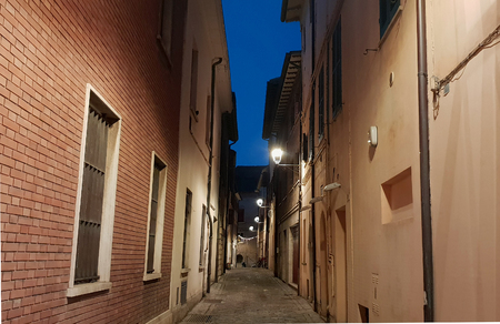 a typical folkloristic street in a historical center of Fano, in Italy Standard-Bild - 107541945