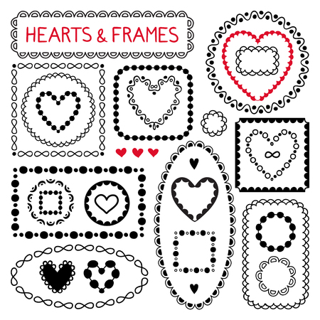 doodle hearts and frames graphic design elements for web sites