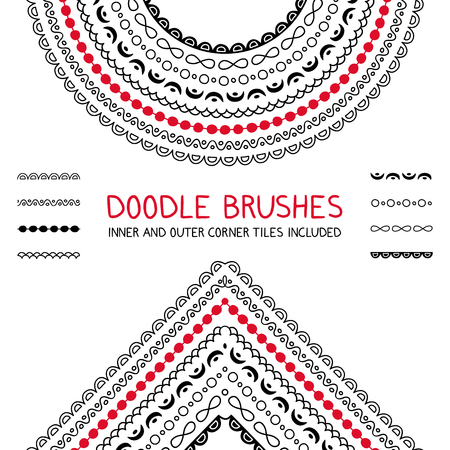 Doodle brushes set with inner and outer corners. Graphic design element for web sites, stationary printables, fabric, scrapbooking etc, Illustration