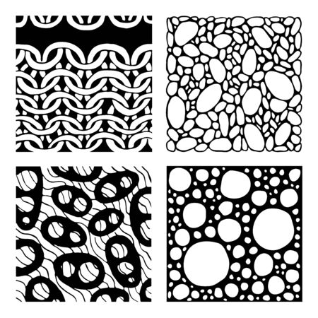 printables: Abstract backgrounds set. Four geometrical backgrounds in black and white. Graphic design element for web sites, stationary printables, fabric, scrapbooking etc,