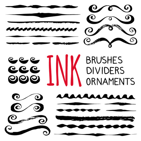Ink brushes , dividers and ornaments. Hand painted with ink. Graphic design element for web sites, stationary printables, fabric, scrapbooking etc.