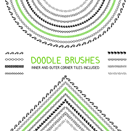 printables: Doodle brushes set with inner and outer corners. Graphic design element for web sites, stationary printables, fabric, scrapbooking etc, Illustration
