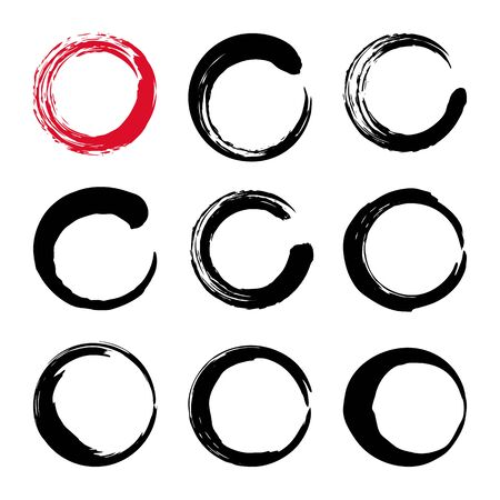 printables: Set of hand painted ink circles. Coffee or wine glass stains. Graphic design elements for web sites, stationary printables, corporate identity, scrapbooking, posters etc. Illustration