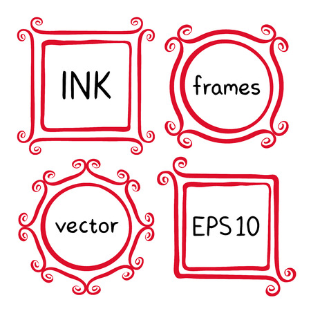 swashes: Cute hand made frames set painted with ink brush. Frames with whimsical swashes. Hand drawn doodle picture frames. Elements for baby shower, wedding invitations, scrapbook. Doodle vector illustration