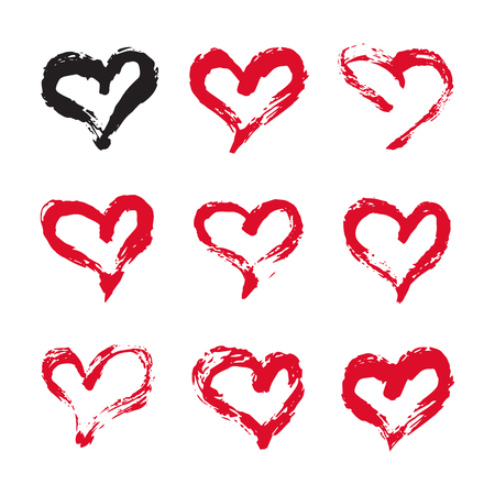 printables: Ink hearts card. Set of 9 hand painted ink hearts. Graphic design element for web sites, stationary printables, fabric, scrapbooking etc. Illustration