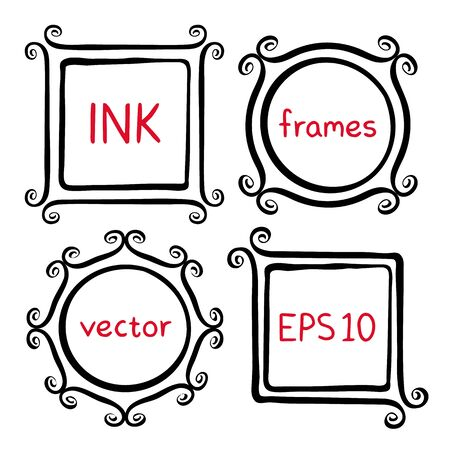 swashes: Cute hand made frames set painted with ink brush. Frames with whimsical swashes. Hand drawn doodle picture frames. Elements for baby shower, wedding invitations, scrapbook. Doodle illustration