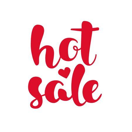 Modern HOT SALE poster. Discount banner with heart. Hand written lettering. Calligraphy design element. Vector illustration. Illustration