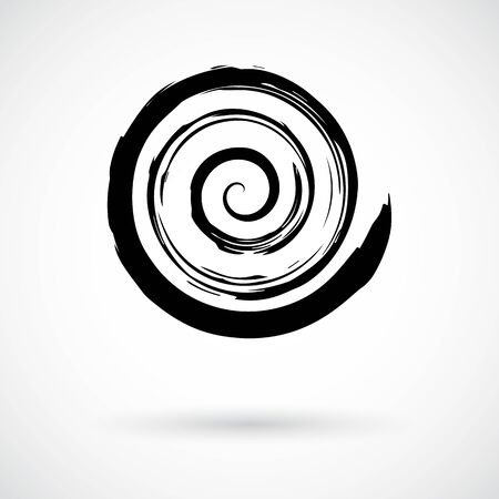 Spiral symbol. Hand painted with ink brush. Abstract decorative helix button. Grunge effect round curl symbol. Cycle, motion, rotation concept. Graphic design element. Vector illustration.