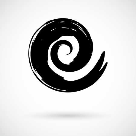 Spiral swirl symbol hand painted with ink brush