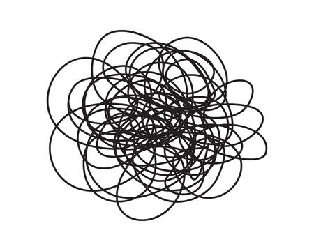 Griffonnage rond grungy enchevêtré dessiné à la main avec une ligne fine, isolé sur fond blanc. Illustration vectorielle
