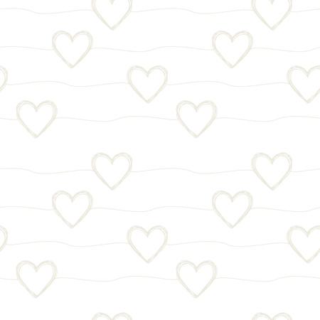 손으로 그린 낙서 하트와 줄무늬가 무작위로 배치 된 사랑스러운 완벽 한 패턴입니다. 벡터 일러스트 레이 션