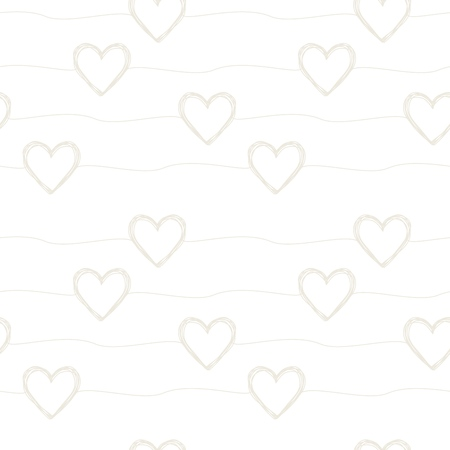 Lovely seamless pattern with hand drawn scribble hearts and stripes randomly placed. Vector illustration