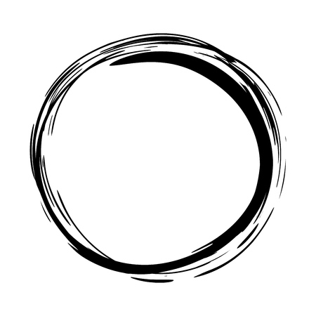 Grungy round scribble circle hand drawn with ink brush effect. Isolated on white background. Vector illustration