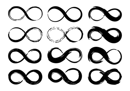 Infinity symbols set hand painted with grunge brush stroke and black paint. Vector illustration.