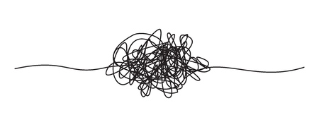 Tangled grungy round scribble Stock Photo