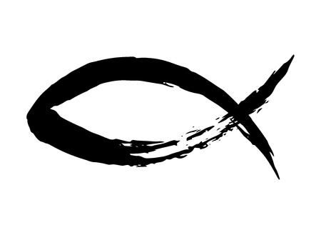 Símbolo de pez pintado a mano con pincel de tinta