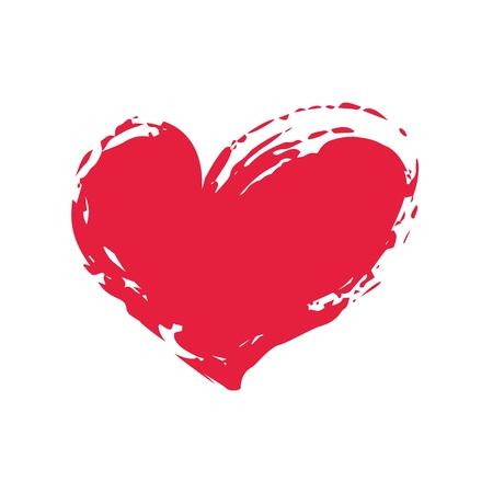 Symbole de coeur grunge peint à la main avec un pinceau Vecteurs