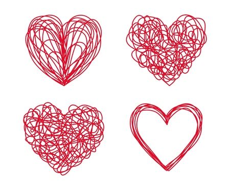 Set of four tangled grungy heart scribbles hand drawn with thin line, divider shape. Isolated on white background. Vector illustration