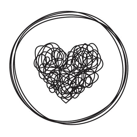 Coeur en forme de cercle emmêlé gribouillis grungy dessiné à la main avec une ligne fine, forme de diviseur. Isolé sur fond blanc. Illustration vectorielle Vecteurs