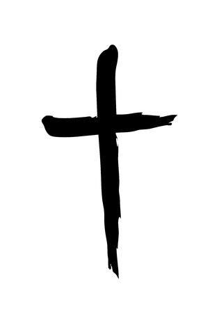 Hand drawn christian cross symbol