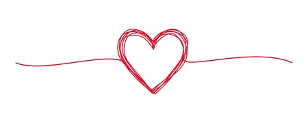 Tangled grungy red heart scribble hand drawn with thin line, divider shape. Isolated on white background. Vector illustration