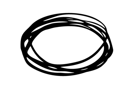 Grungy round scribble oval