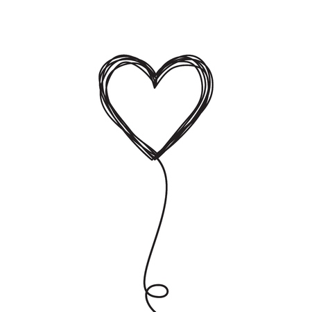 Tangled scribbled heart on a string air baloon or flower like Çizim