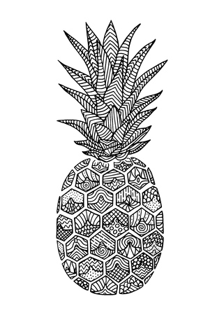 Pineapple doodle, hand drawn with brush pen, in line art style. Vector illustration Illustration