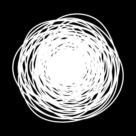 Cercle de griffonnage rond grungy dessiné à la main avec une fine ligne, isolé sur fond blanc. Illustration vectorielle