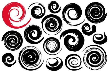 Kapryśne spiralne symbole ustawione ręcznie malowane pędzlem akwarelowym tuszem. Nowoczesny przycisk mieszając kropla. Ozdobna okrągła ozdoba cewki. Ślimak rotacji promieniowej. Element projektu graficznego. Ilustracja wektorowa.