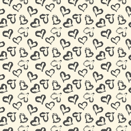 Seamless heart pattern hand painted with ink brush. Graphic design element. Scrapbooking, Valentine's Day card, wallpaper, baby shower, wedding invitation. Vintage style tileable vector illustration