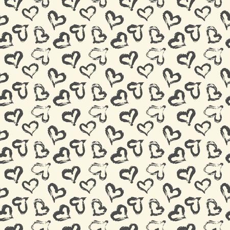 Nahtloses Herzmuster handgemalt mit Tintenpinsel. Grafisches Gestaltungselement. Scrapbooking, Valentinstagskarte, Tapete, Babyparty, Hochzeitseinladung. Kachelbare Vektorillustration im Vintage-Stil