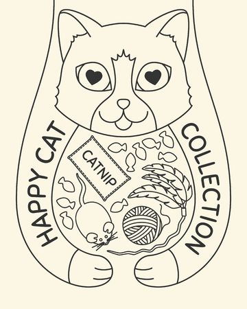 Doodle cat with toys and treats. Hand drawn poster of a Happy Cat Collection, feline health products. Vector illustration Illustration