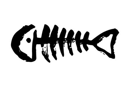 Fish bone skeleton hand painted with ink brush Vektorové ilustrace