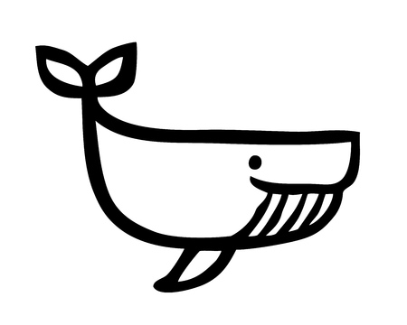 Cute cartoon whale hand painted with ink brush stroke Illustration