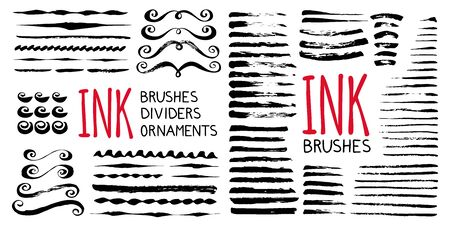 Ink brushes , dividers, circles and ornaments. Hand painted with ink brush in grungy style. Vector illustration