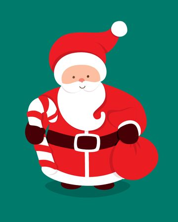 Merry Christmas card with Santa Claus, sugar cane and presents bag. Cartoon character of a man with beard. Vector illustration