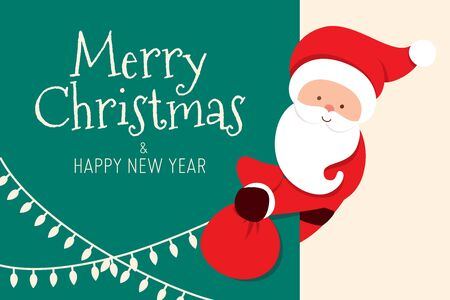 Merry Christmas card with Santa Claus peeking and holding presents bag. Cartoon character of a man with beard. Vector illustration Imagens