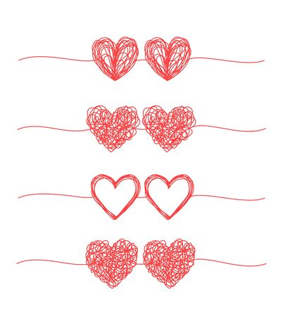 Set of coupled hearts tangled grungy scribble banners Ilustrace