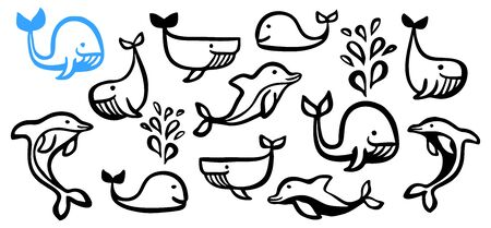 Cute cartoon set of whales and dolphins hand painted with ink brush stroke, isolated on white background. Grunge vector illustration Ilustração Vetorial