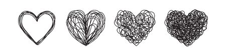 Set of four tangled grungy heart scribbles hand drawn with thin line. Isolated on white background. Vector illustration Иллюстрация