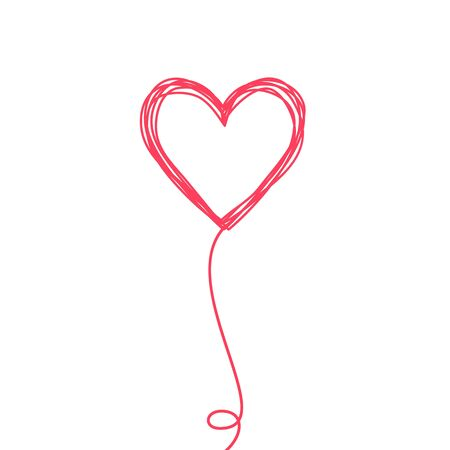 Tangled scribbled heart on a string line like an air baloon or a flower, hand drawn with thin line and red ink. Isolated on white background. Vector illustration Иллюстрация